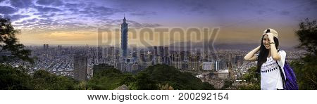 Beautiful Night View Of Taipei Skyline At Night, Taipei, Taiwan