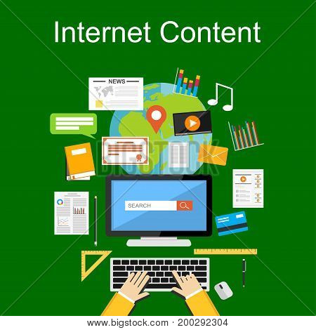 Illustration concepts of internet content, web content, search engine.