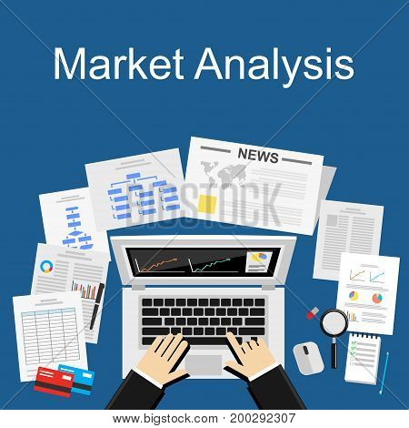 Flat design illustration concept for market analysis, business plan, investment marketing, market research.