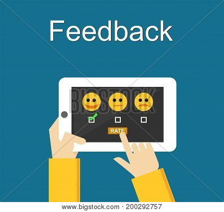 Feedback or Rating system on phone screen. Giving feedback concept.