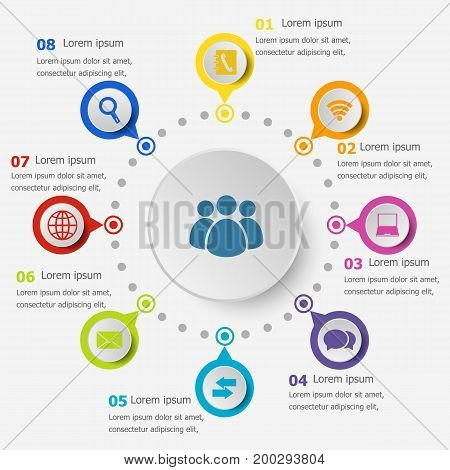 Infographic template with communication icons, stock vector