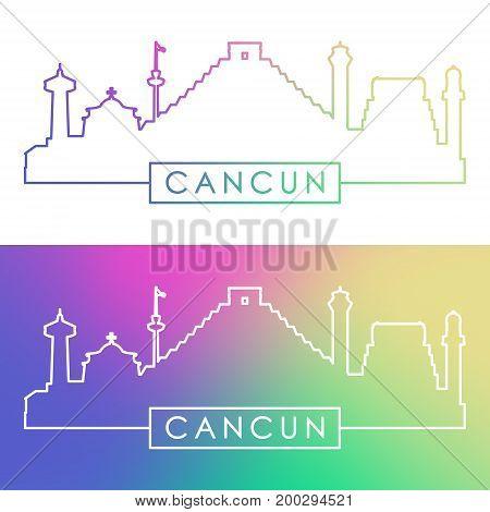 Cancun skyline. Colorful linear style. Editable vector file.