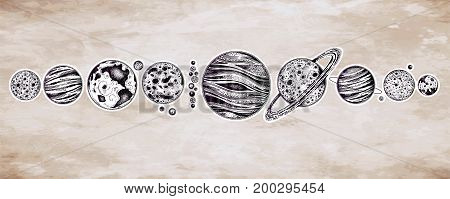 Collection of planets in solar system. Dotwork set. Engraving style. Vintage elegant science set. Sacred geometry, magic, esoteric philosophies, tattoo, art. Isolated vector illustration.