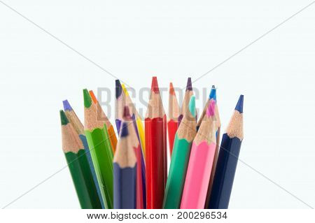 color pencils on white background tool for paint
