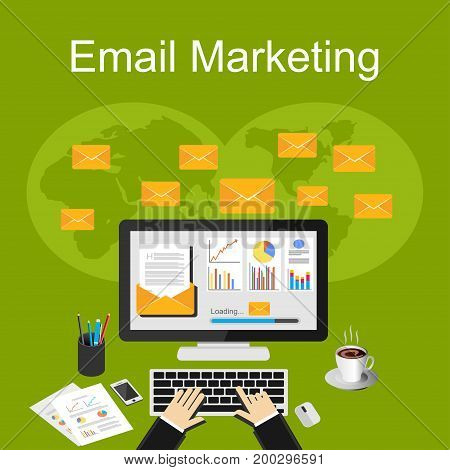Email marketing illustration. Design concepts for send or receive email marketing, business communication and marketing, analytics and business strategy.