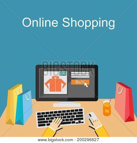 Online shopping or e-commerce concept illustration. Buy online.