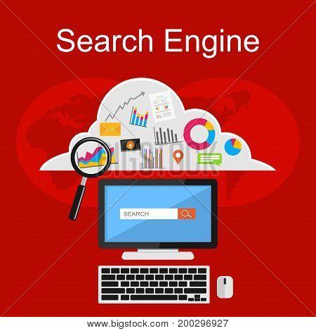 Search engine illustration. Flat design illustration concepts for internet contents, media digital, internet cloud storage, internet searching.