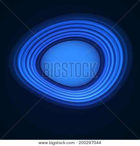 Blue neon distortion circles on black background. Fractal objects. Place for text. Vector illustration