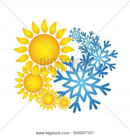 Sun and snowflakes for air conditioning symbol
