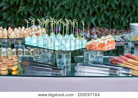 Appetizers, finger food, party food, sliders. Canape, tapas. Served table at summer terrace cafe. Catering service. Outdoor restaurant table with food