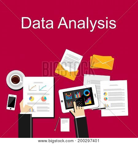 Data analysis concept illustration. Financial planning, business strategy, business statistics.
