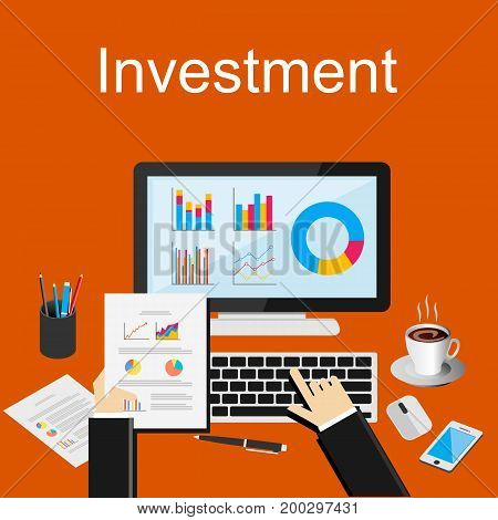 Investment or business statistics illustration. Flat design illustration concepts for business planning, management career, business strategy, business statistics.