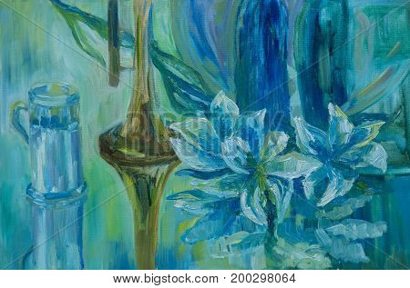 Still life written in oil on canvas. Pipe mug and lilies on a blue table after a rain