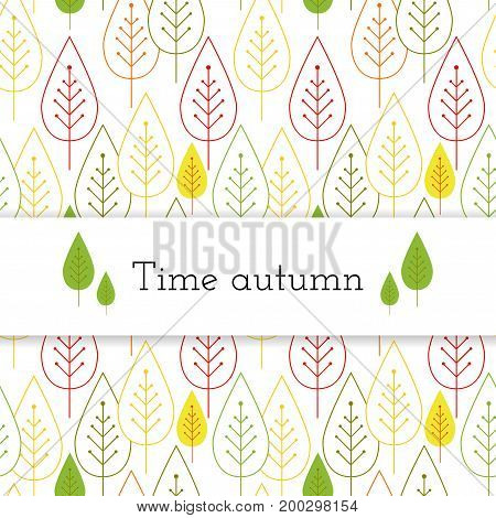 White paper stripe banner on autumn leaves seamless background.