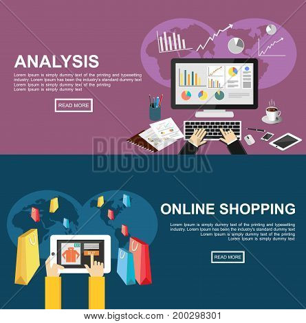 Banner for analysis and online shopping. Flat design illustration concepts for business finance, business growth analysis, business statistics, online shopping, e-commerce buying online.