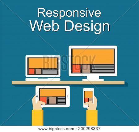 Responsive web design illustration. Flat design. Banner illustration.