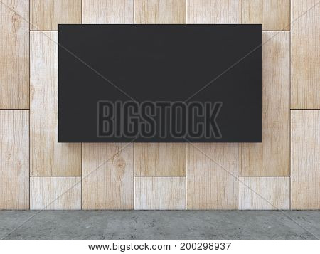 Black blank canvas on wood pattern wall with concrete floor background. 3D rendering.