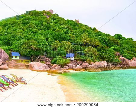The tropical landscape oft the beach of Koh Tao, Thailand