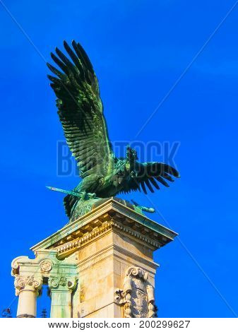 Bronze eagle statue at Buda Castle Gate in Budapest at Hungary
