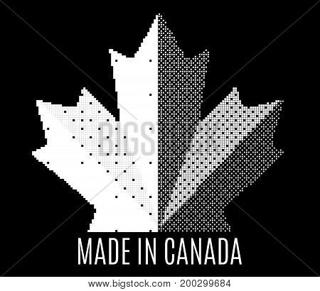 Icon black and white Canada maple leaf. Made in Canada sign. Abstract mosaic shape  Isolated on dark background. Vector concept illustration logo design.