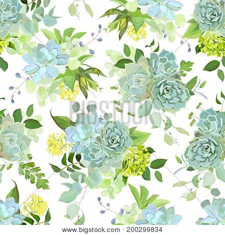 Spring mix of succulents, herbs and plants seamless vector design pattern. Natural cactus print in modern funky style. Cute rustic green wedding flowers. All elements are isolated and editable.