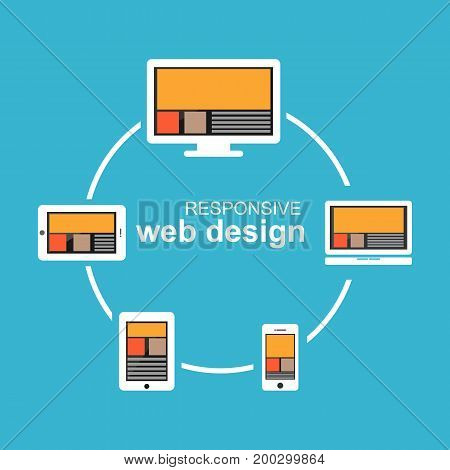 Responsive web design on devices vector illustration.