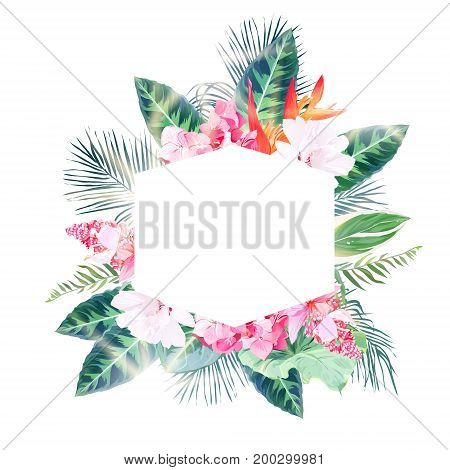Hexagonal tropical label frame arranged from palms and white, pink flowers. Green, emerald exotic leaves vector design set. Golden sun flares and luminous light. All elements are isolated and editable