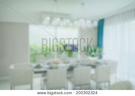 Defocus dining table in dining area for background