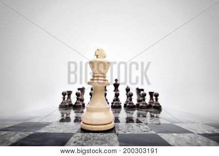 Creative business concept photo of chess king staying before the set of another colour pieces.