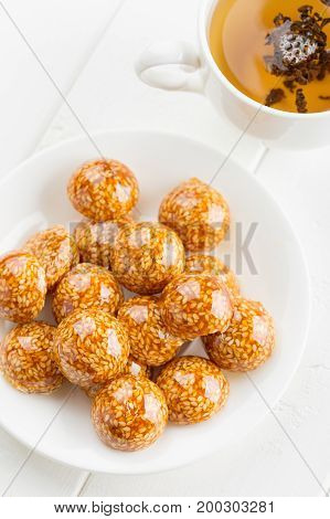 Handmade Sesame Candy In Sugar Caramel