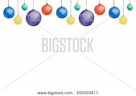 Several Christmas tree-colored multi-colored balls painted with watercolors hanging on threads on a white background