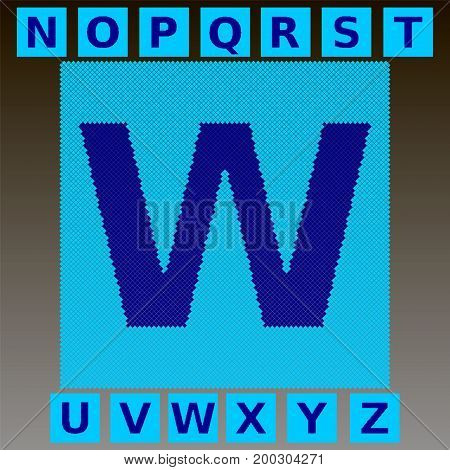 Mosaic blue letters in a cyan mosaic square. Full English alphabet. You can use to animate the effect of scattering parts of the font mosaic. Part 2. Vector.