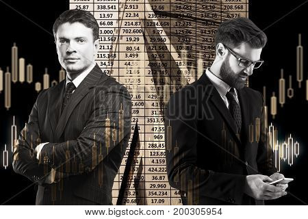 Two handsome businessmen with smartphone on abstract forex background. Trade concept. Double exposure