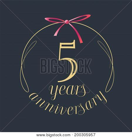 5 years anniversary celebration vector icon logo. Template design element with golden number and red bow for 5th anniversary greeting card