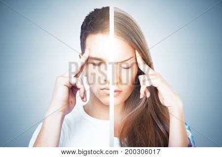 Abstract thoughtful man woman on gray background. Mental difference concept