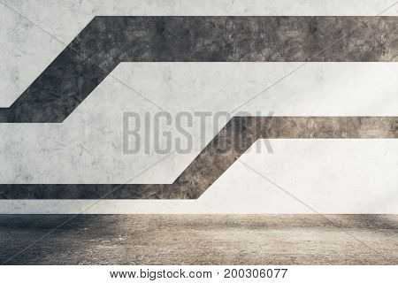 Empty unfurnished concrete interior with pattern on wall. Architecture concept. 3D Rendering