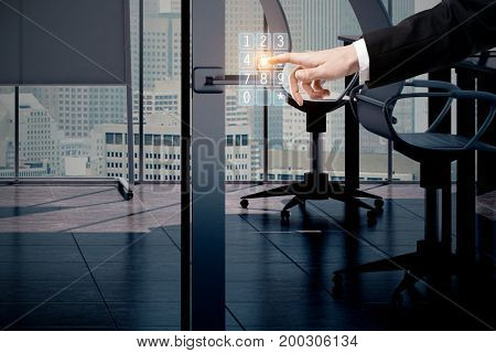 Businessman using digital dial hologram in modern office. Future concept. 3D Rendering