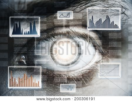 Abstract digital eye with business hologram. Future and access concept. Double exposure