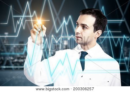 Young male doctor drawing abstract heartbeat line on night city background. Medicine concept