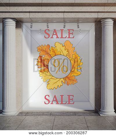 Storefront with creative sketch and concrete columns. Autumn fall sale concept. 3D Rendering