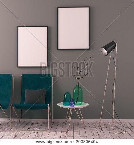 Contemporary Scandinavian Interior With Poster