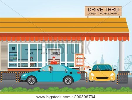 Two cars getting Food at a Drive Thru Restaurant flat design vector illustration.