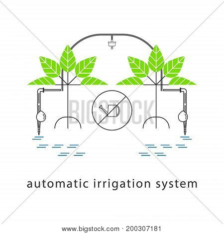 Drip irrigation system. Line icon. Vector illustration.