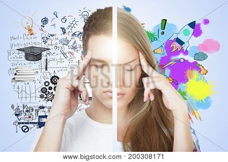 Abstract thoughtful male female on gray background with business sketch. Creative and analytical thinking concept