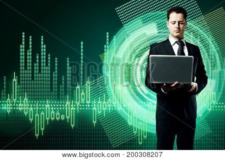 Businessman using laptop on abstract digital business chart hologram background. Interface concept. 3D Rendering