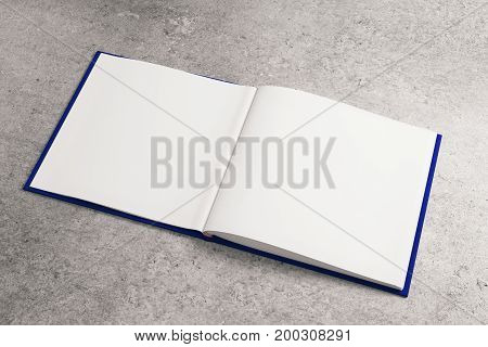 Clear white notepad on concrete surface. Advertisement supplies education text copy space concept. Mock up 3D Rendering