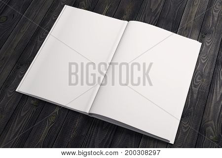 Clean white note paper copybook diary organizer on wooden desktop. Advertisement supplies education text copy space concept. Mock up 3D Rendering