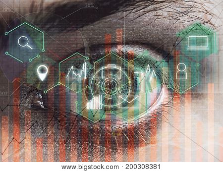 Abstract digital eye with business hologram. Future and identification concept. Double exposure