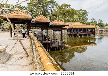 Hue Vietnam - Mar 16 2017: Ancient Tu Duc royal tomb near Hue Vietnam. A UNESCO World Heritage Site