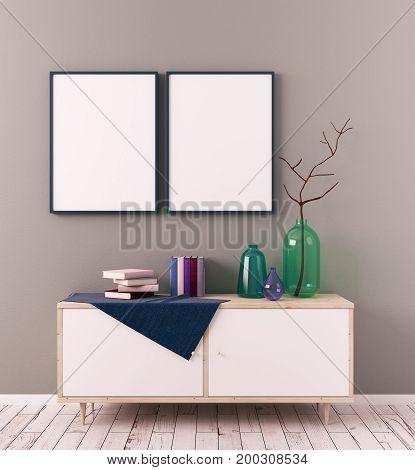 Creative Scandinavian Room With Billboard